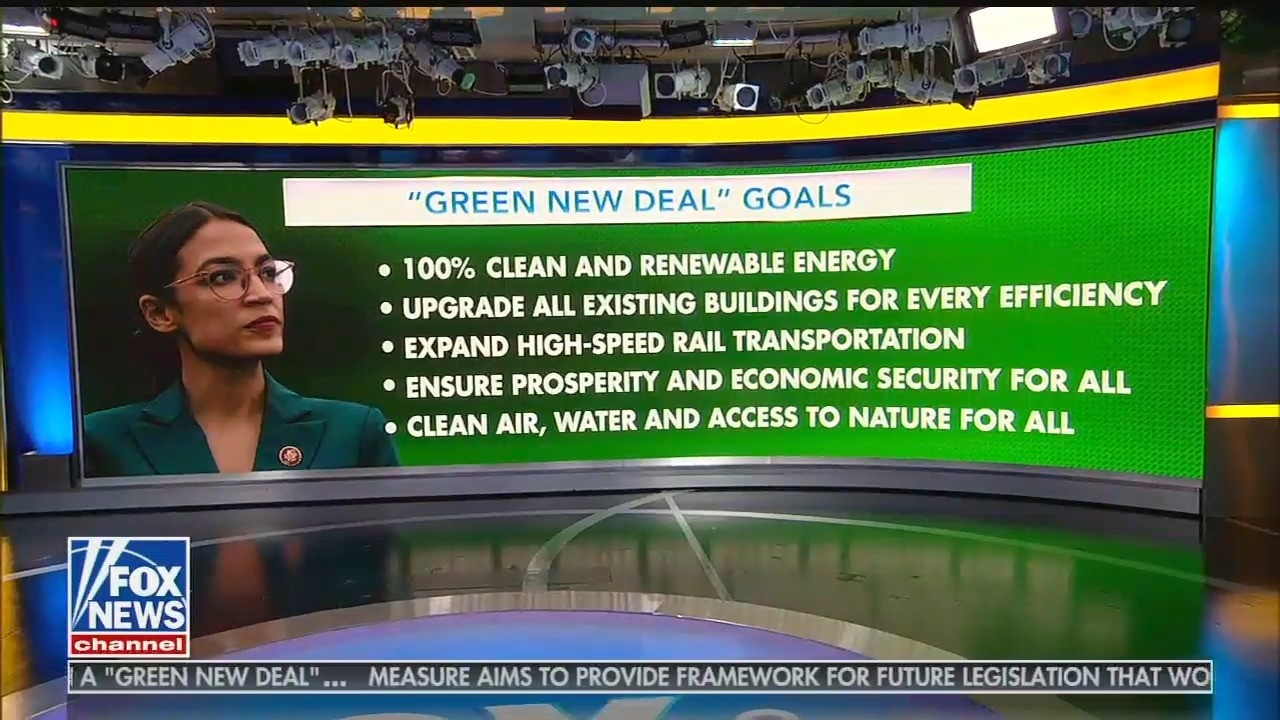 """Member of the US Congress Alexandria Ocasio-Cortez in a screen graphic on Fox News TV — the Murdoch propaganda channel that is apoplectic about """"social rights"""" embodied in her proposed Green New Deal:"""