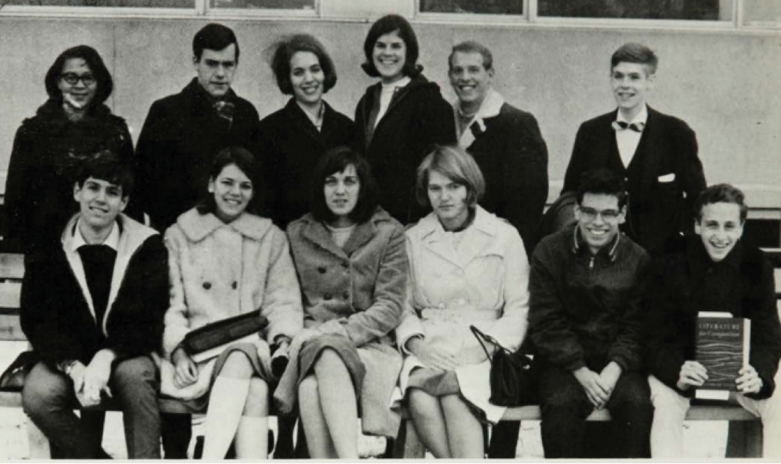 Elizabeth Herring (before she became Warren) second from left front row in her 1967 university photo. She was a conservative then. Studying stories of how people went bankrupt changed her politics, in 1996.