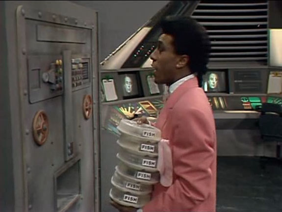 We ask the question: If they can get food instantly from the machines, how come they run out of certain foods in later episodes? Does it come from a stock? Is it like a Star Trek replicator? Does it matter?