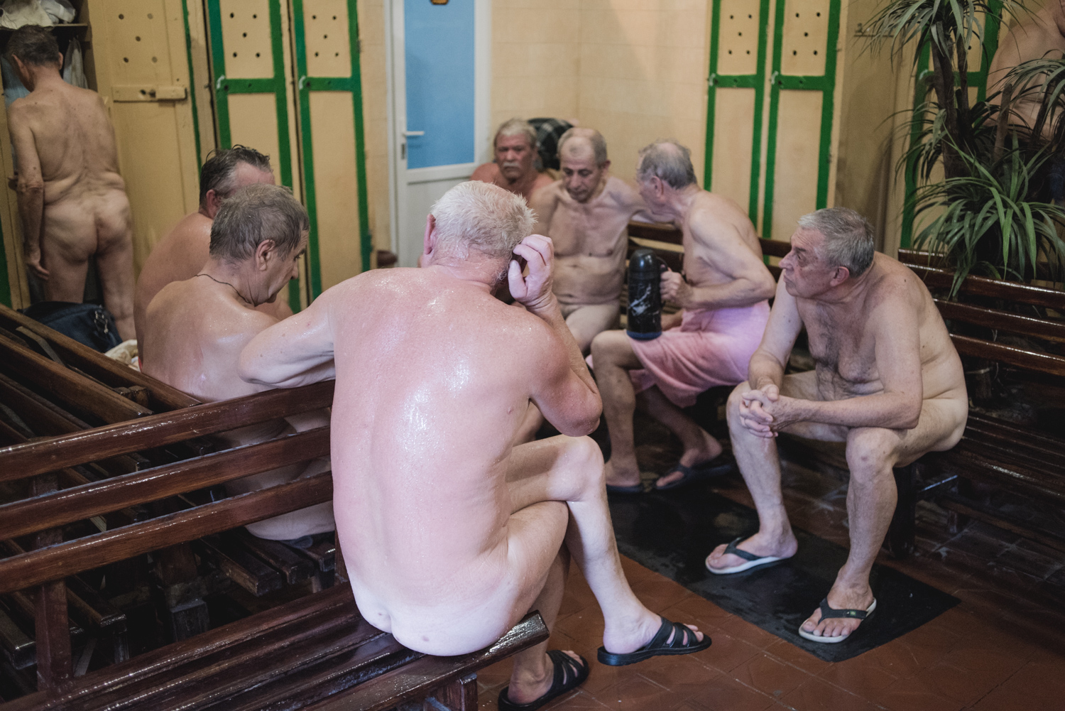 The locker room is the main hang-out area, where men banter and discuss their lives. Women come to banya on alternate days.