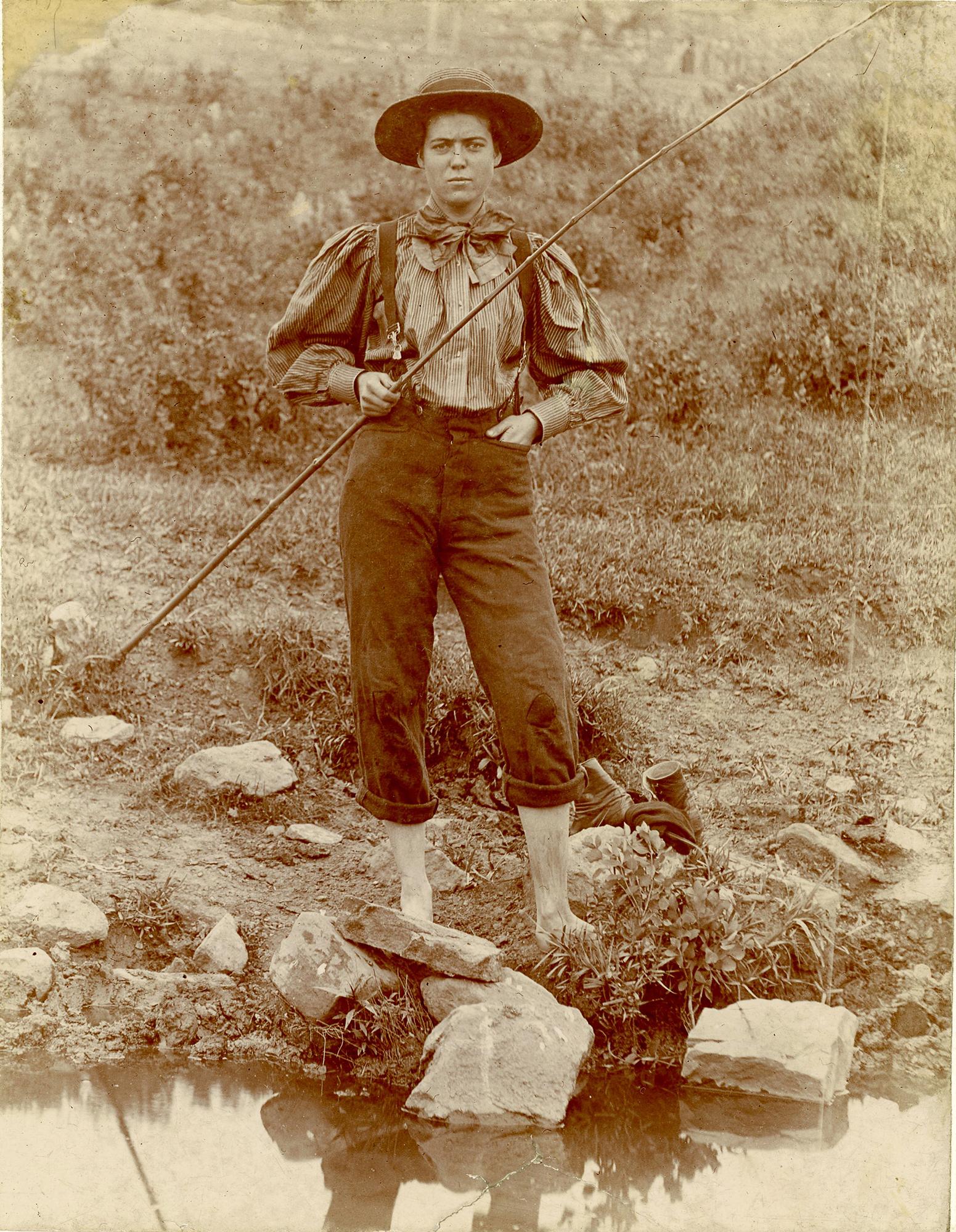 Albumen print of young woman fishing at Yellowstone Park, ca. 1895