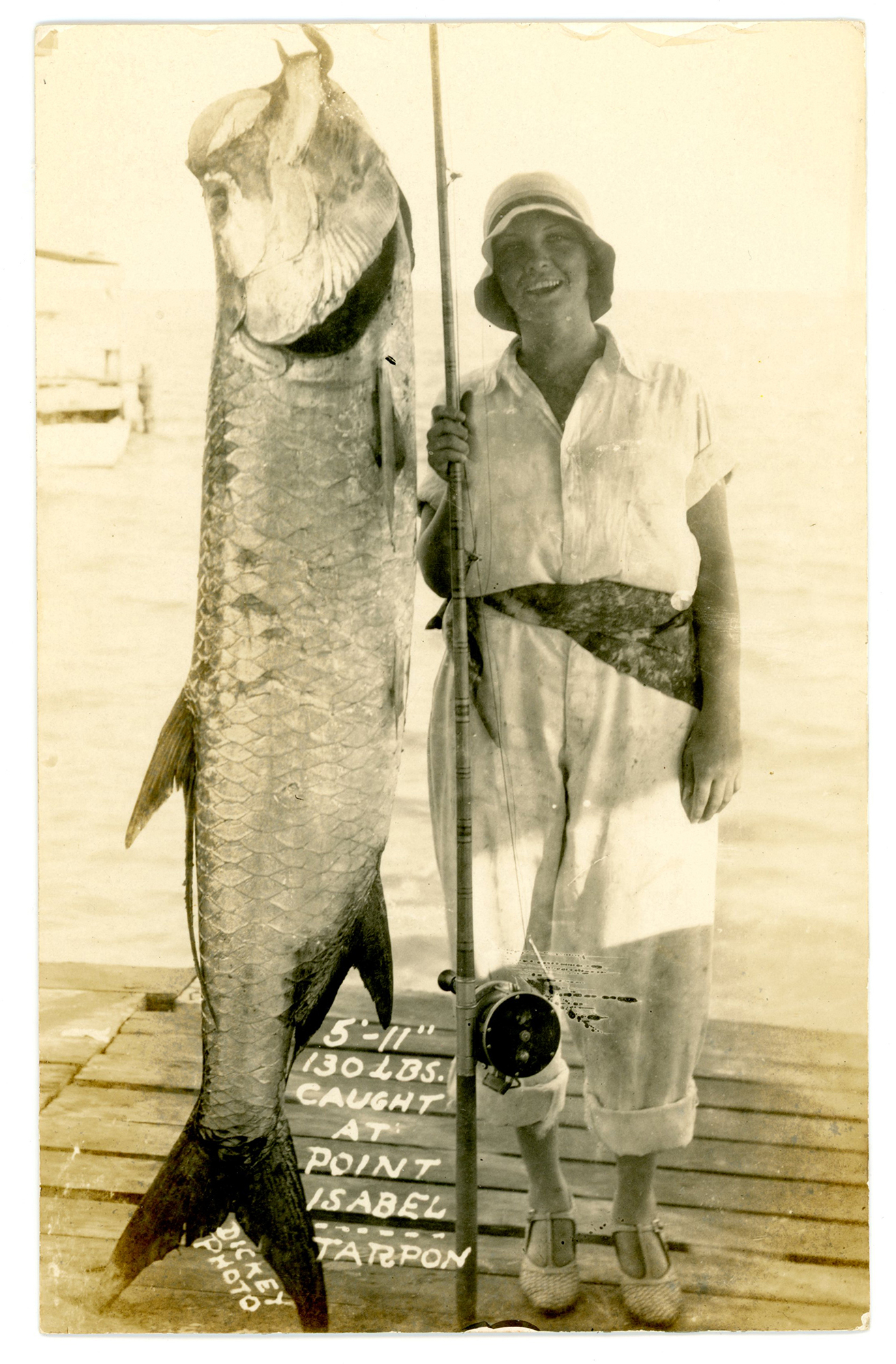 Woman with enormous catch, Point Isabel, Texas, 1925