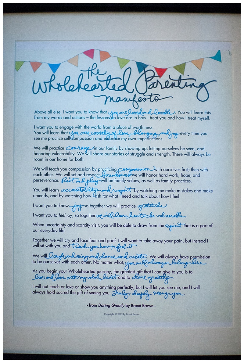 Wholehearted Parenting Manifesto, Daring Greatly Homeschool Room, Jenks, OK