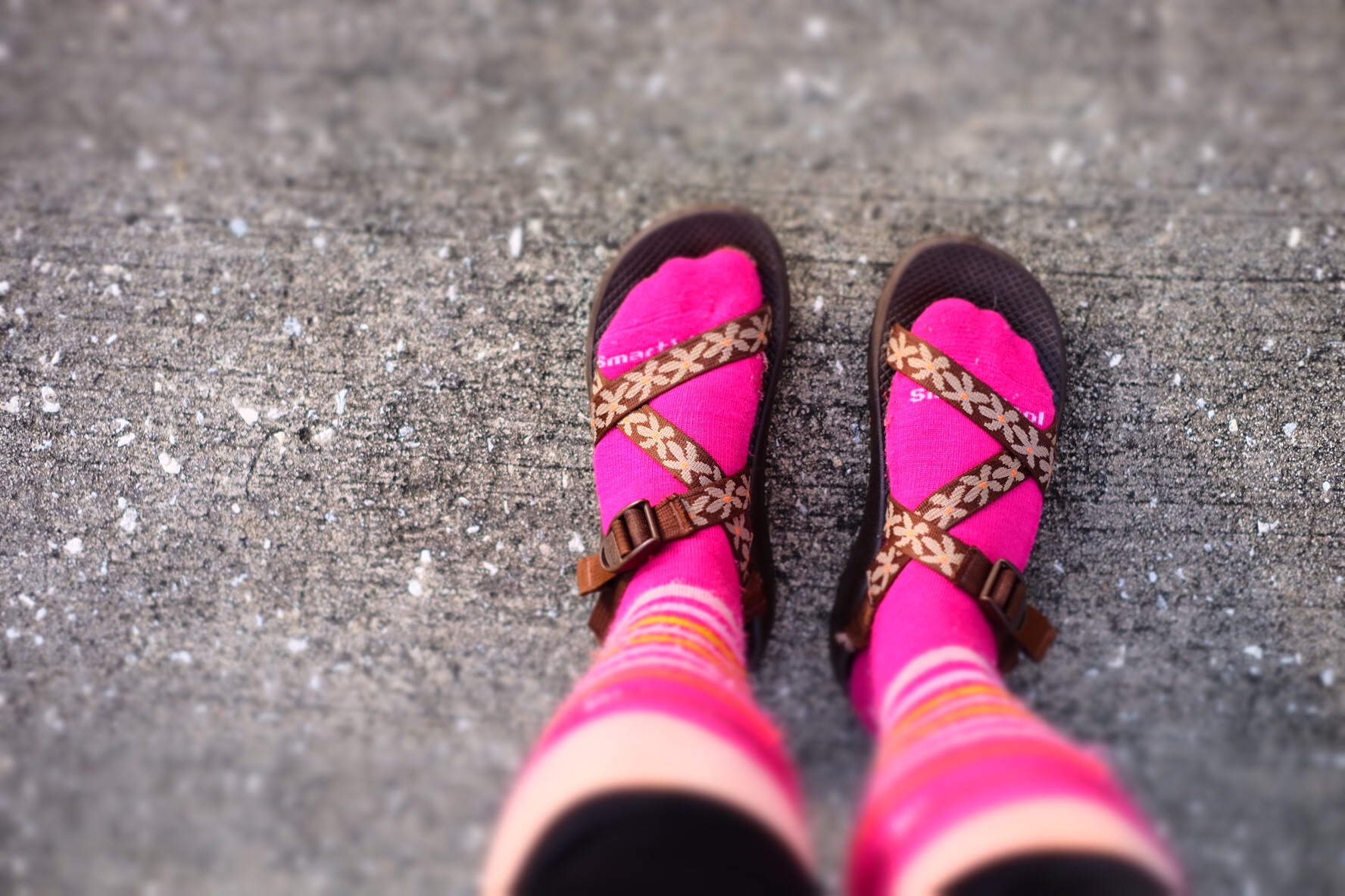 My footwear this morning as I was chilly and waiting for the big girls to shower. I think I fit in well in the community.
