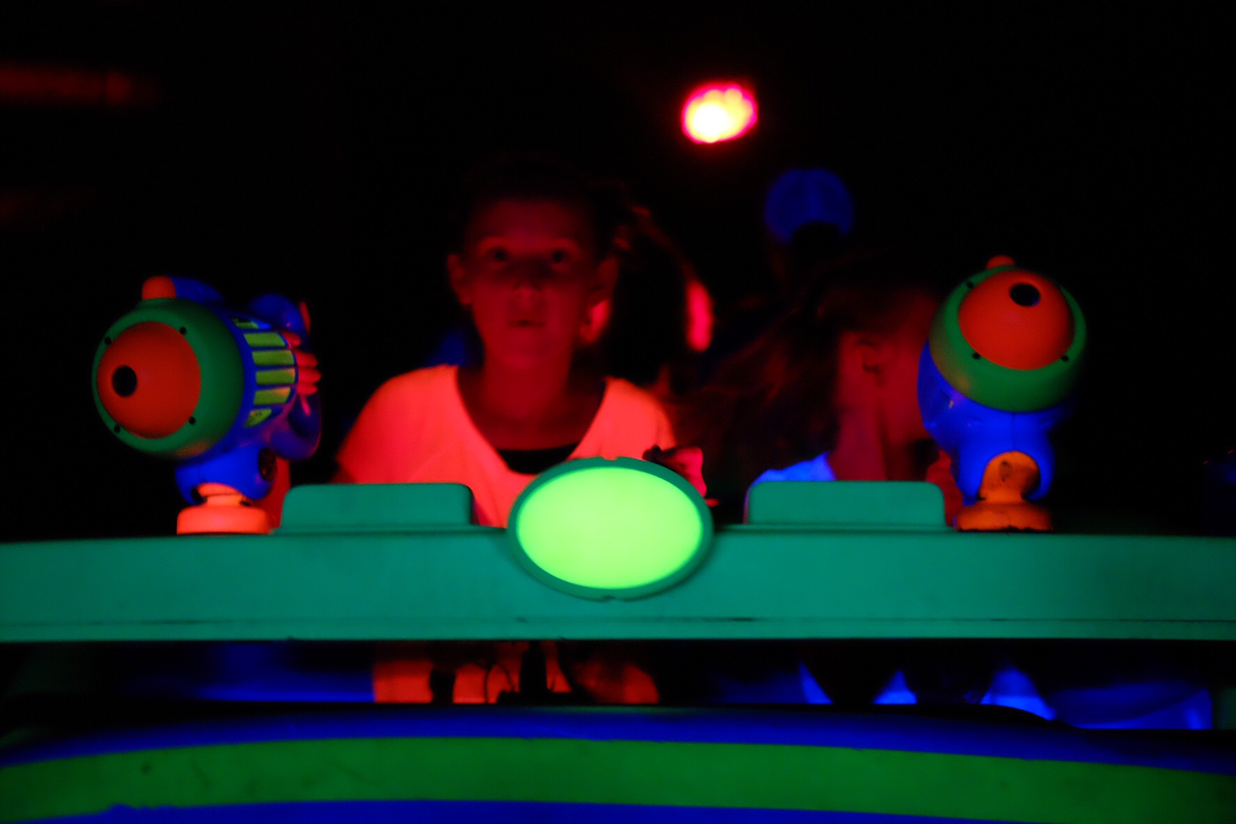 Buzz Lightyear ride...our longest wait because they shut it down for something. Even at 45 mins they still were troopers!