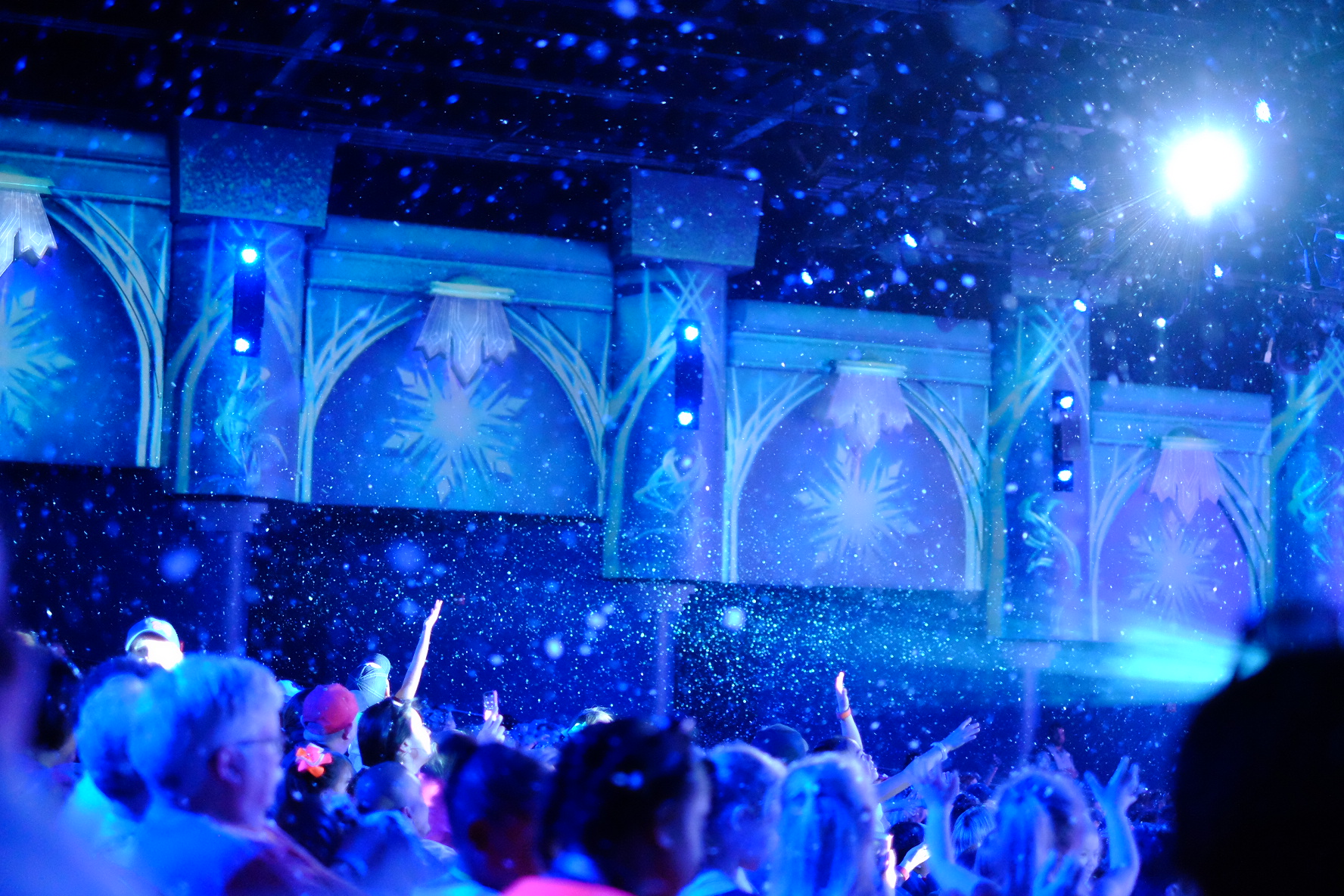 """ISO 6400 allowed me to get great light and the """"snow"""" falling at the Frozen Sing Along in Hollywood Studios."""