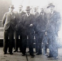 Possibly the Legion bowls team taken at the rear of the Grapes in Bacchus Rd Fred Lowe is second from the left and my grandad Albert Pike is second from the right. Extreme left is Joe Hale and the man in the middle with the trilby is Arthur Hale ( no relation ) who used to take the Boys Brigade. The man on the far right is George ?