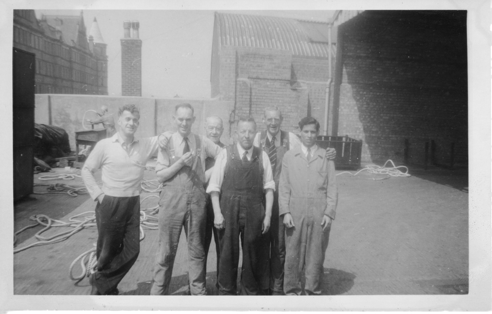 July 1958: BRITISH ROAD SERVICE, CHEAPSIDE. Front LtoR: ?, Stanley Greensall, Arthur Cully, Singh.