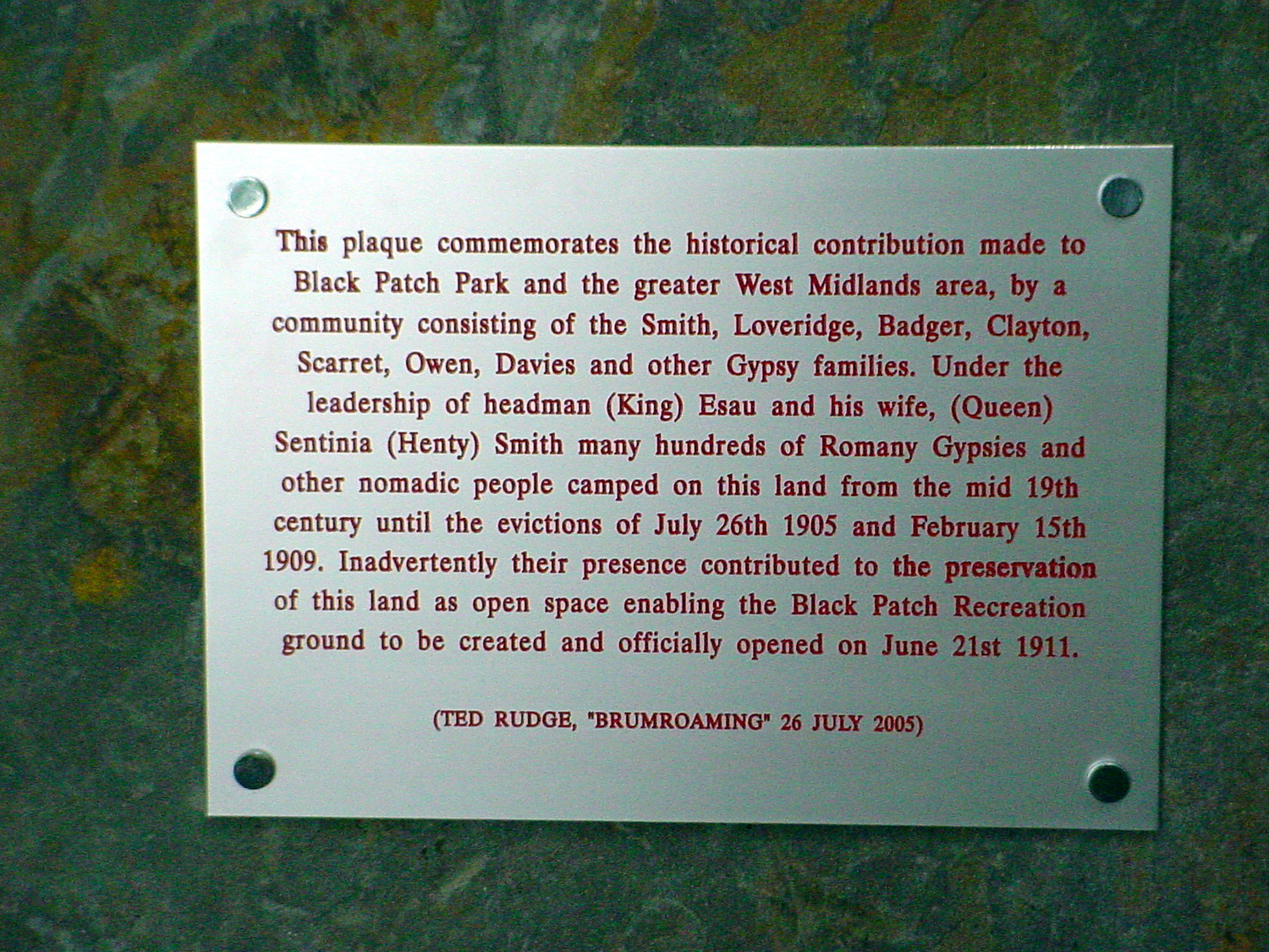 INSCRIPTION ON THE PLAQUE THAT IS ATTACHED TO THE MEMORIAL STONE