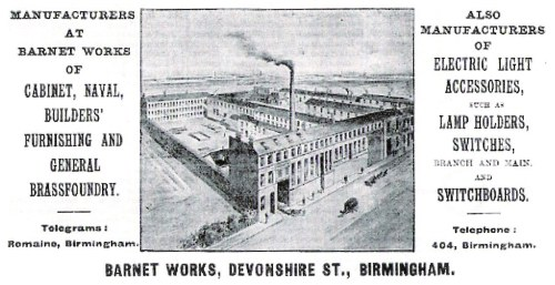 Advertisement for the BARNET WORKS (thanks to John Houghton)