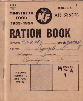 Do you remember the Ration book this one dated 1953-1954 was the last one to be issued.