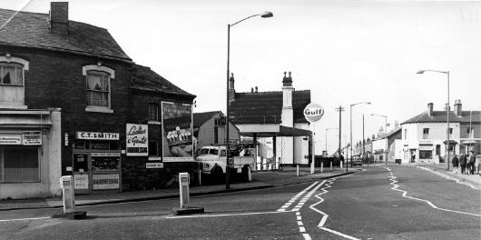 Junction with WINSON GREEN ROAD with LODGE ROAD on right. Photograph from Alan Dolman (Dolmans  Garage)