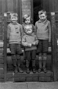 left to right, back row ...Raymond, Florence, Bernard, and Harry at the front, all the Wiggin family.