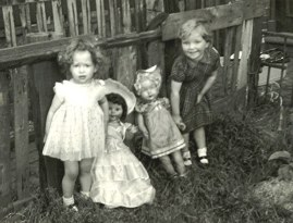 Myself at the age of two with an old friend, Gillian Patrick