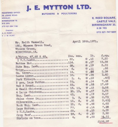 A 1971 Invoice for meat to Keith Wassall's Butchers shop on Winson Green Road.