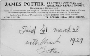 RECEIPT FROM JAMES POTTER