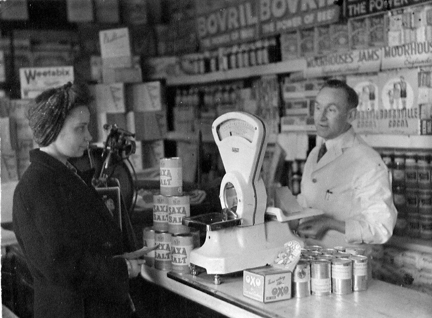 Irene (Queenie) Broadbent and Mr Hughes,  late 1940's - early 1950's in the shop on the corner of South Road and South Road Avenue in Handsworth.