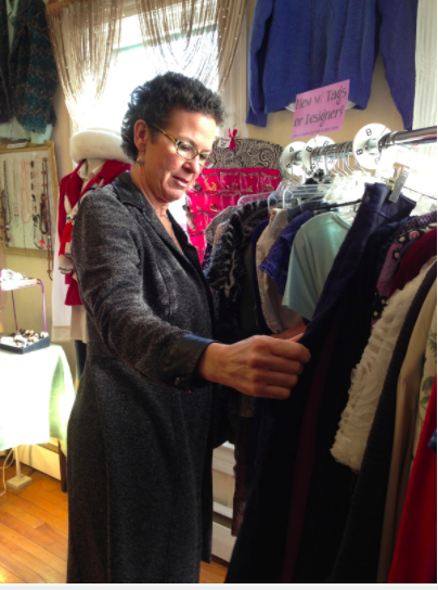 Susie sifting through clothes at the Mary Durham Boutique. Photo: Kelly To