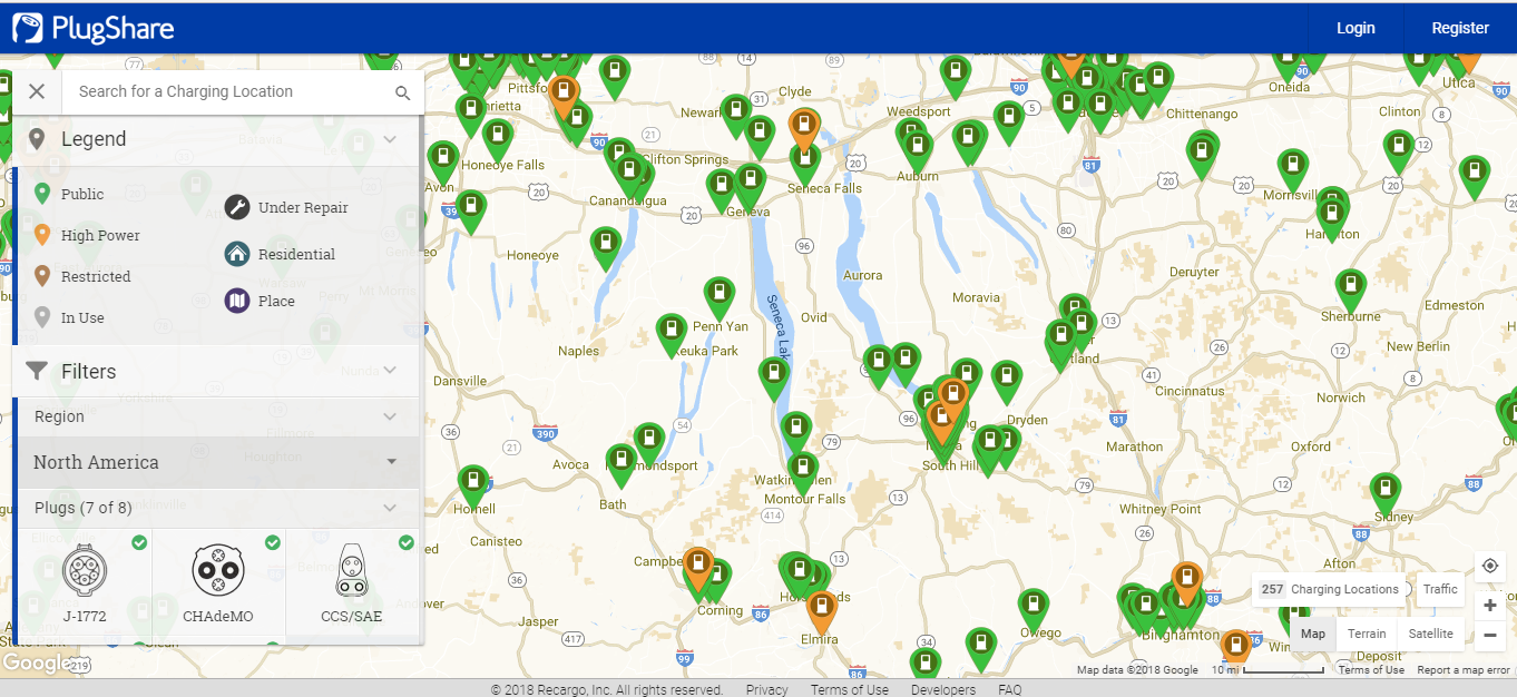 Public Charging Stations in the Region. 9/2018 screenshot from PlugShare.com