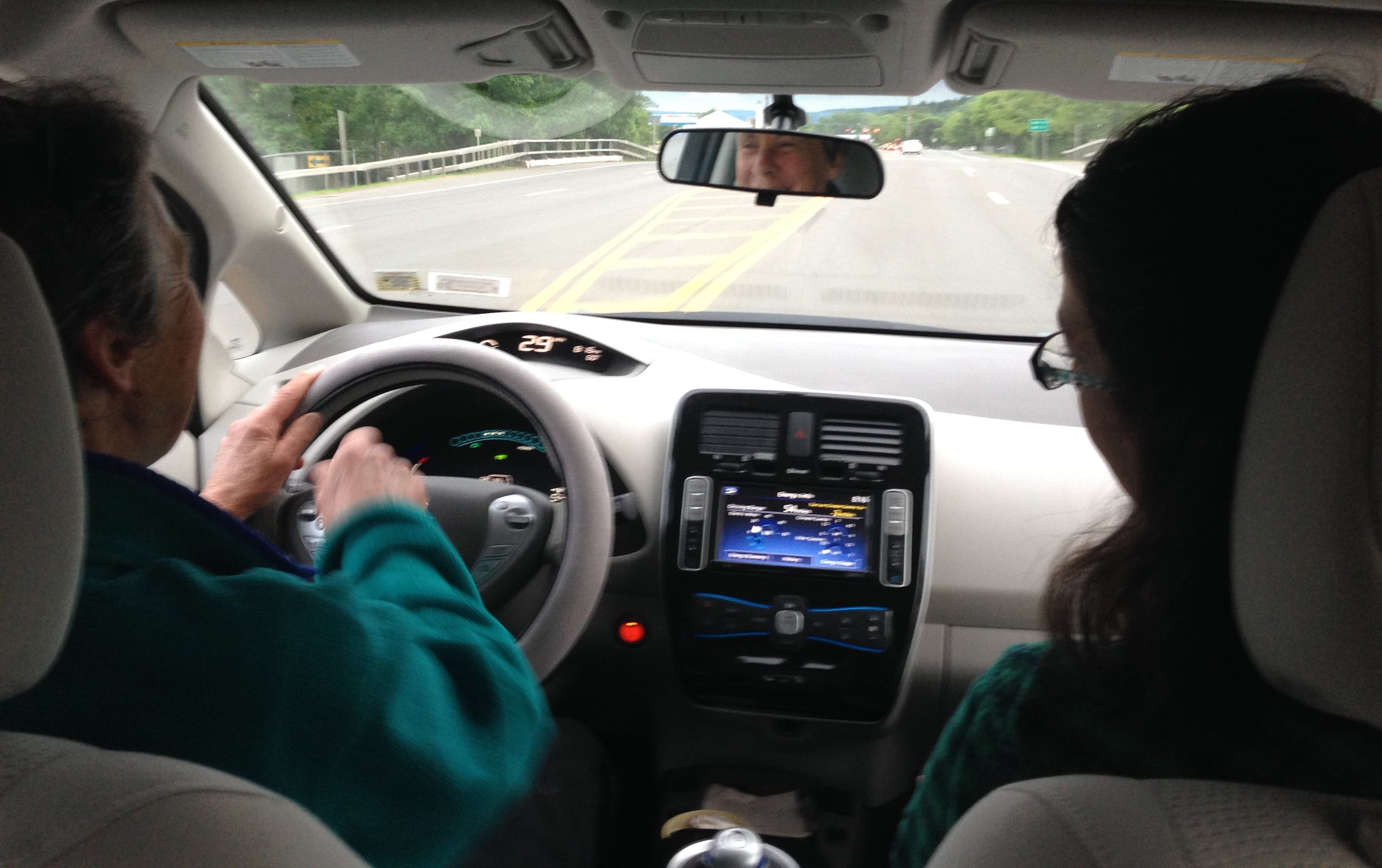 In an all-electric vehicle in Ithaca. Photo: Karim Beers
