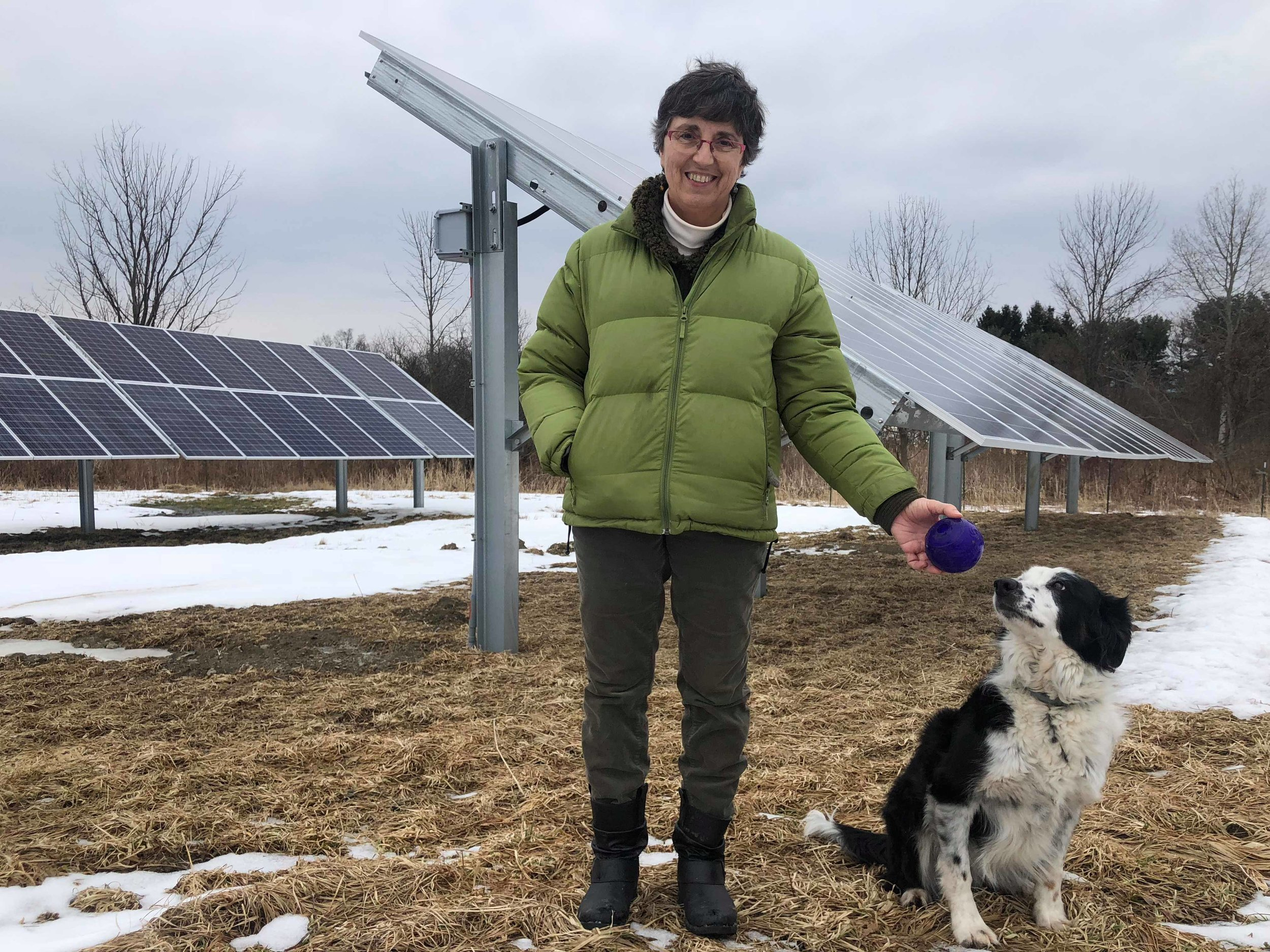 Lisa Ferguson, owner of Laughing Goat Fiber Farm, poses in front of her solar panels with her dog, Calvin. Lisa had solar panels installed and is now saving money and energy while limiting her environmental impact. Photo: Maggie McAden