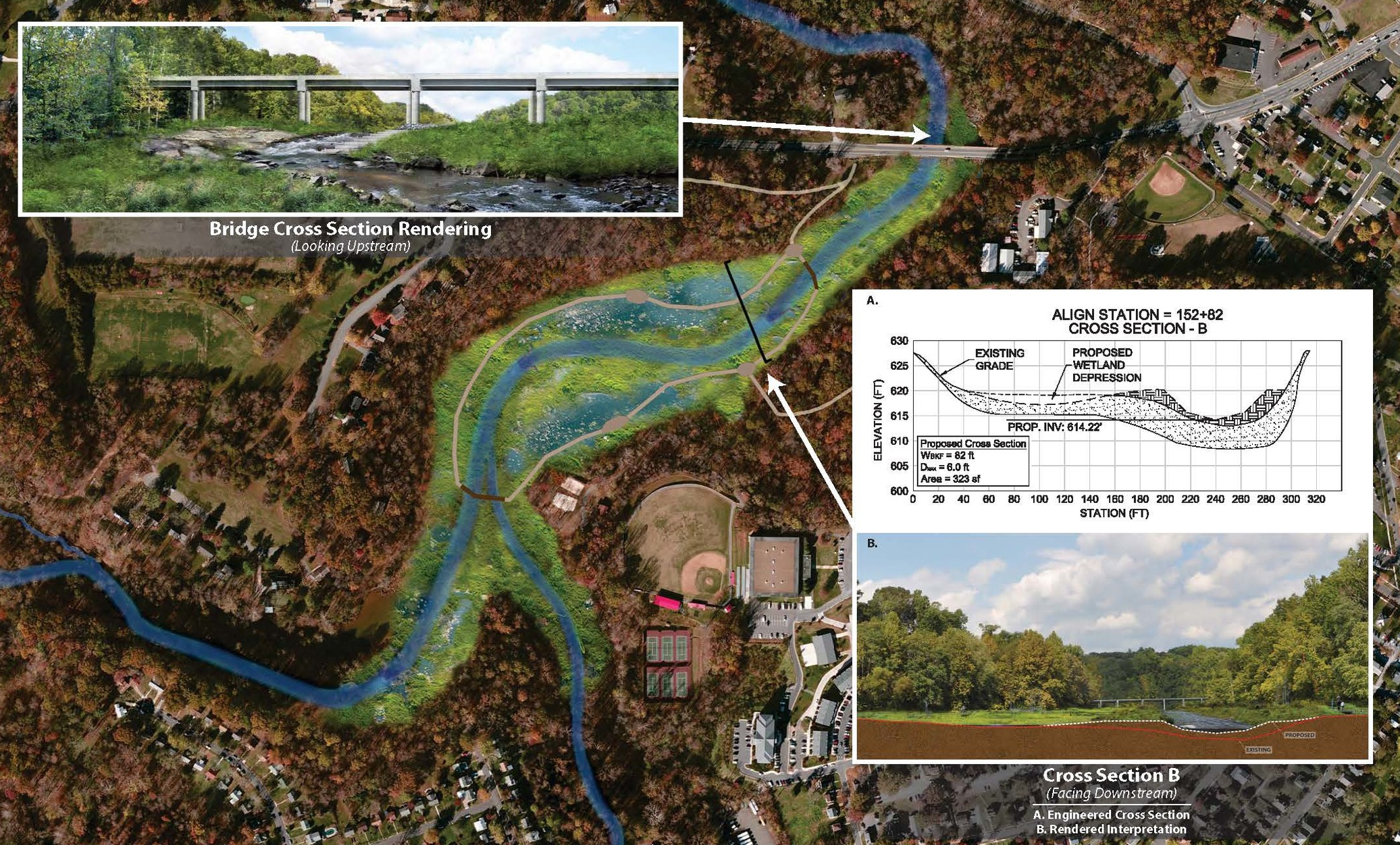 Conceptual rendering of College Lake's bed restoration