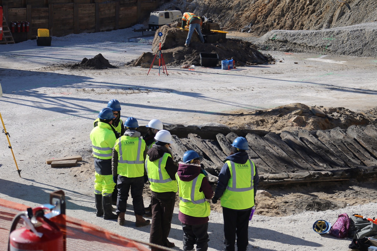 U.S. Navy archeologists were on site to help with the excavation and dismantling of the ship for preservation.