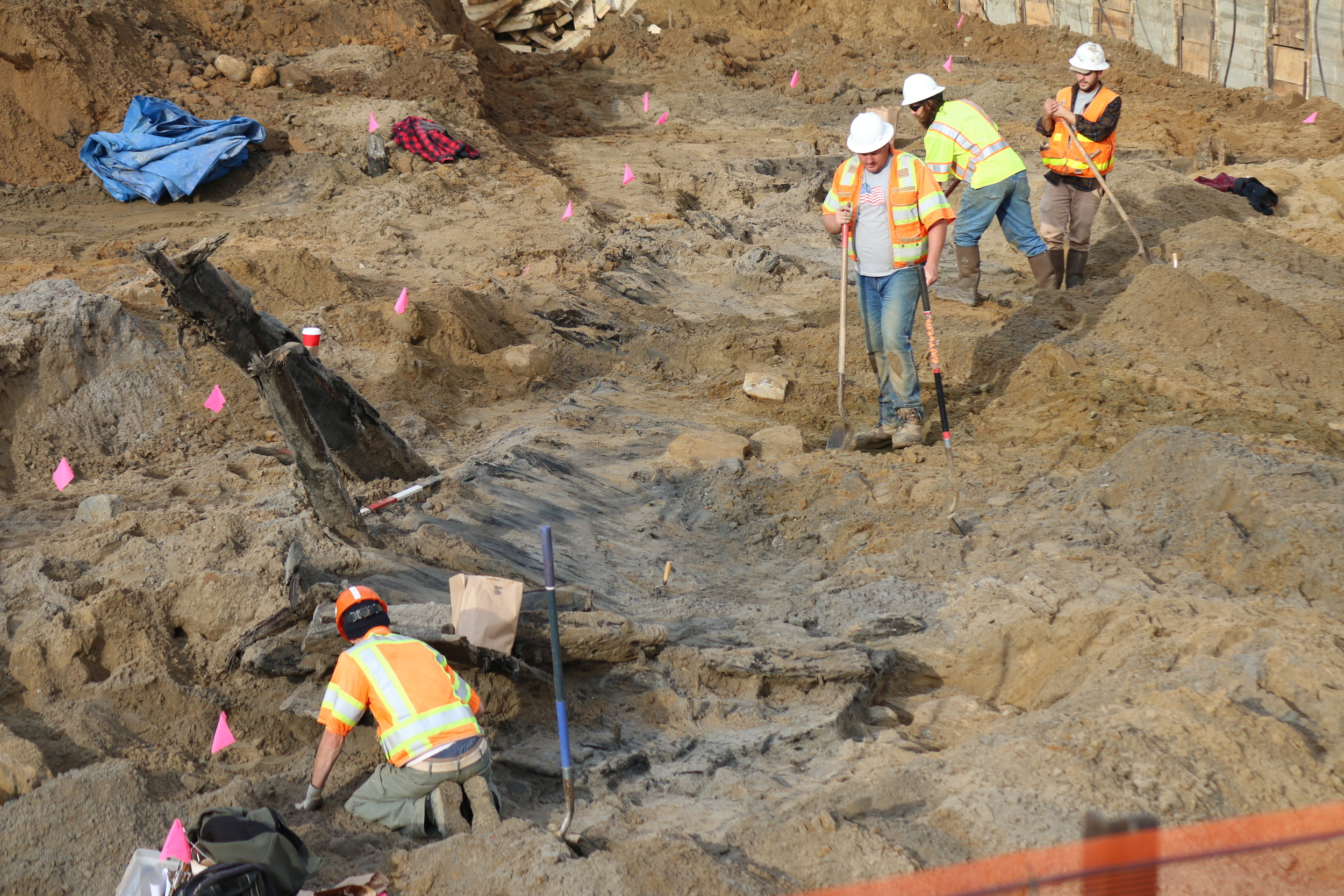 Our archeologists carefully excavate around the hull of the 18th-century ship to uncover the vessel and to recover artifacts.