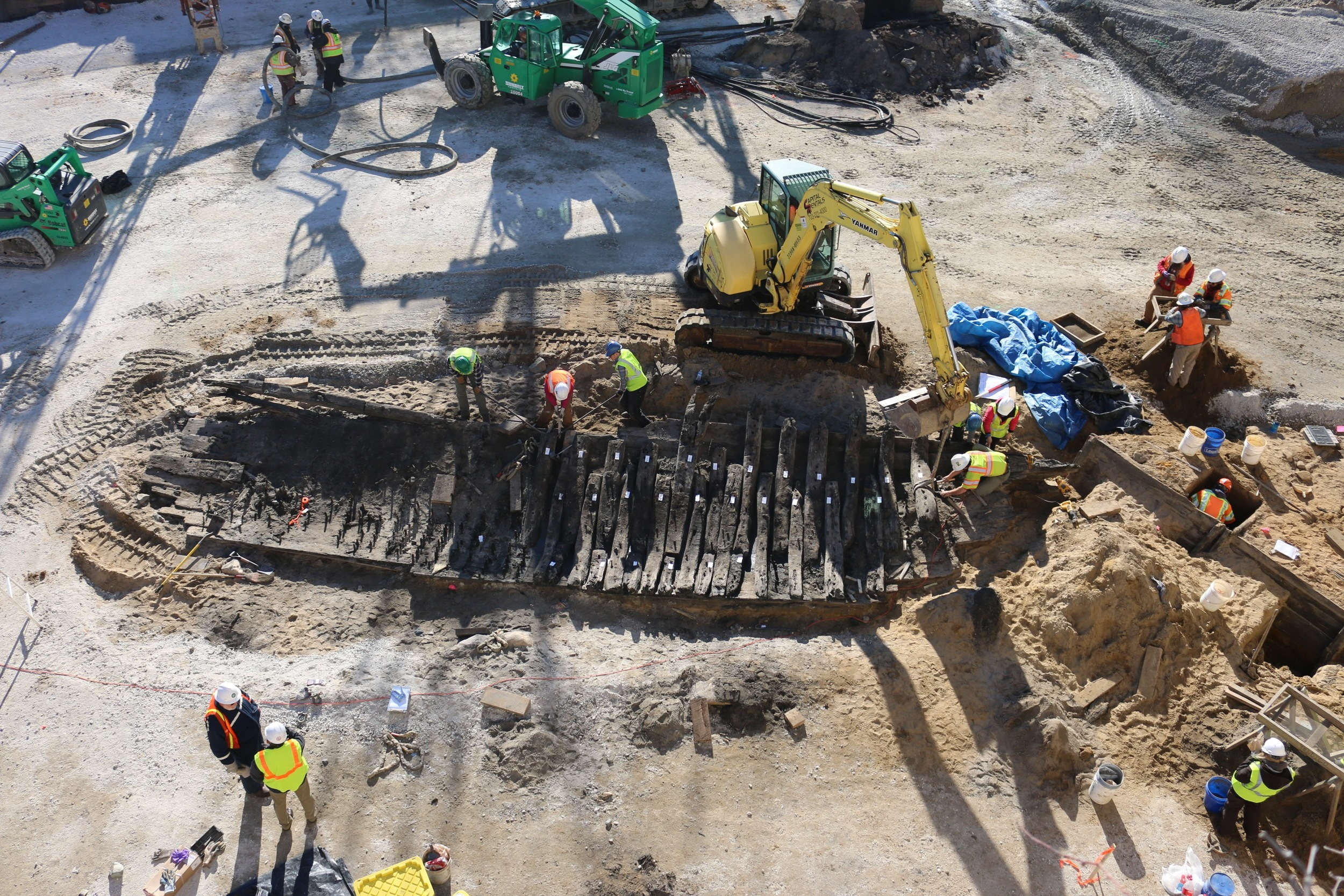 Aerial view of ship WSSI archeologists discovered on the Hotel Indigo site in Alexandria, VA