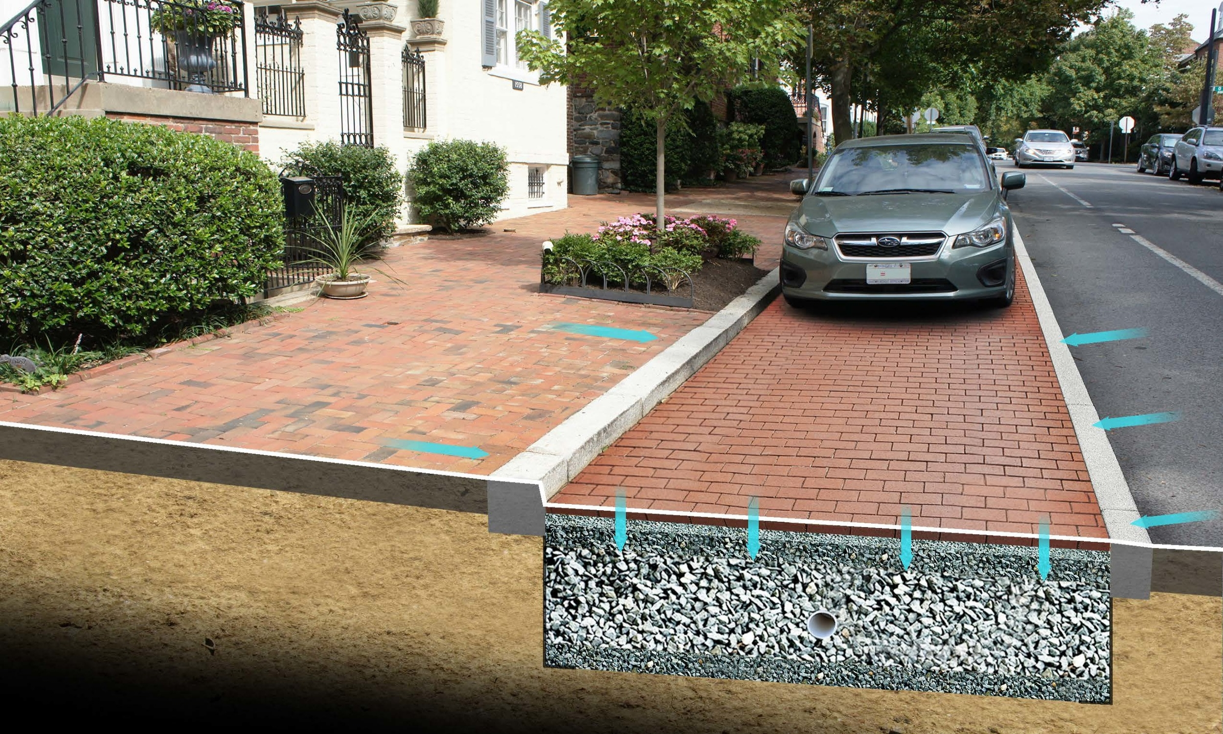 DC Water Permeable Parking Lane – Presentation graphic depicting the aesthetic and functionality of a green infrastructure retrofit.
