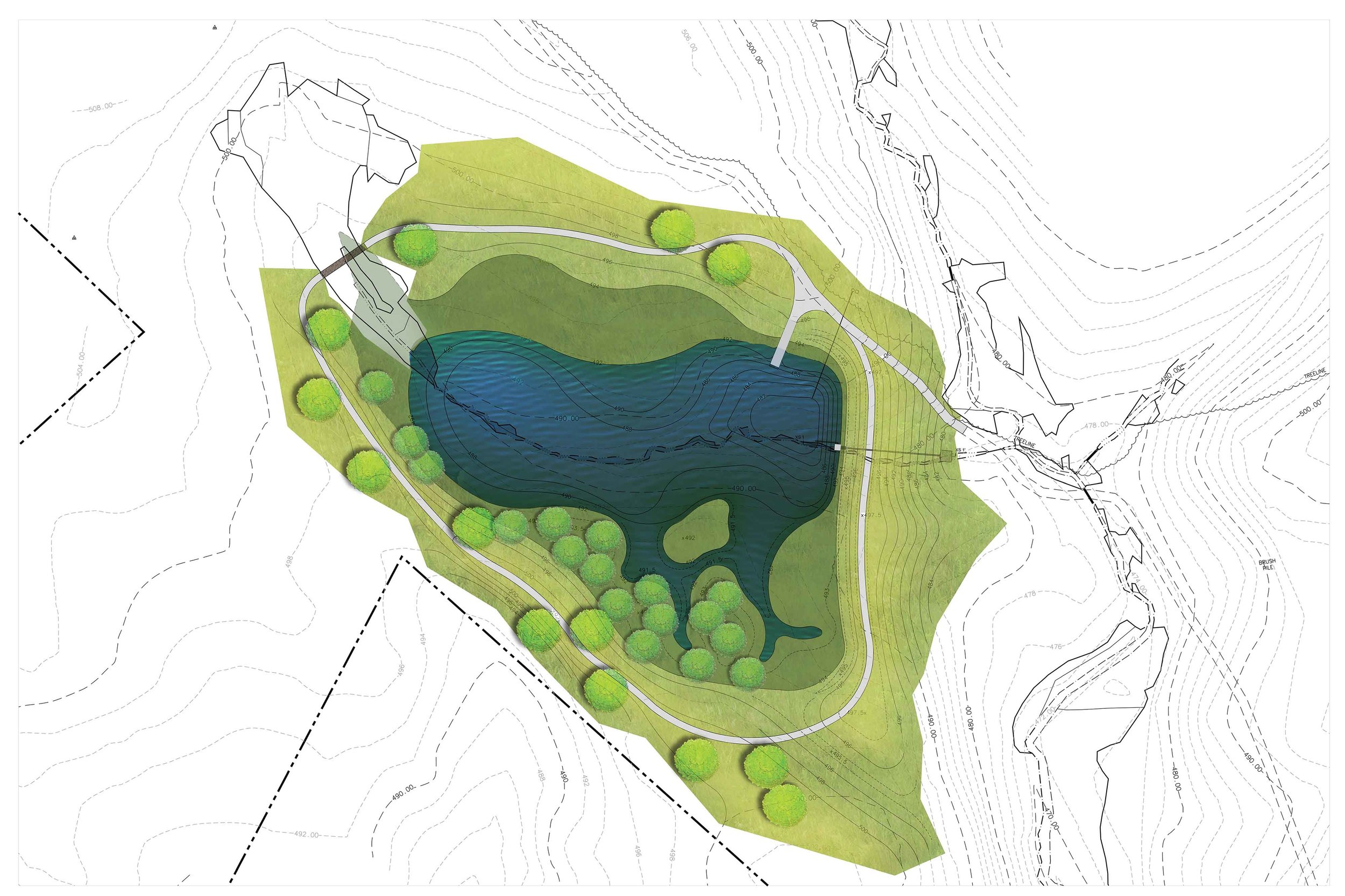 Canterbury – Plan rendering of a private pond and wetland system designed by WSSI