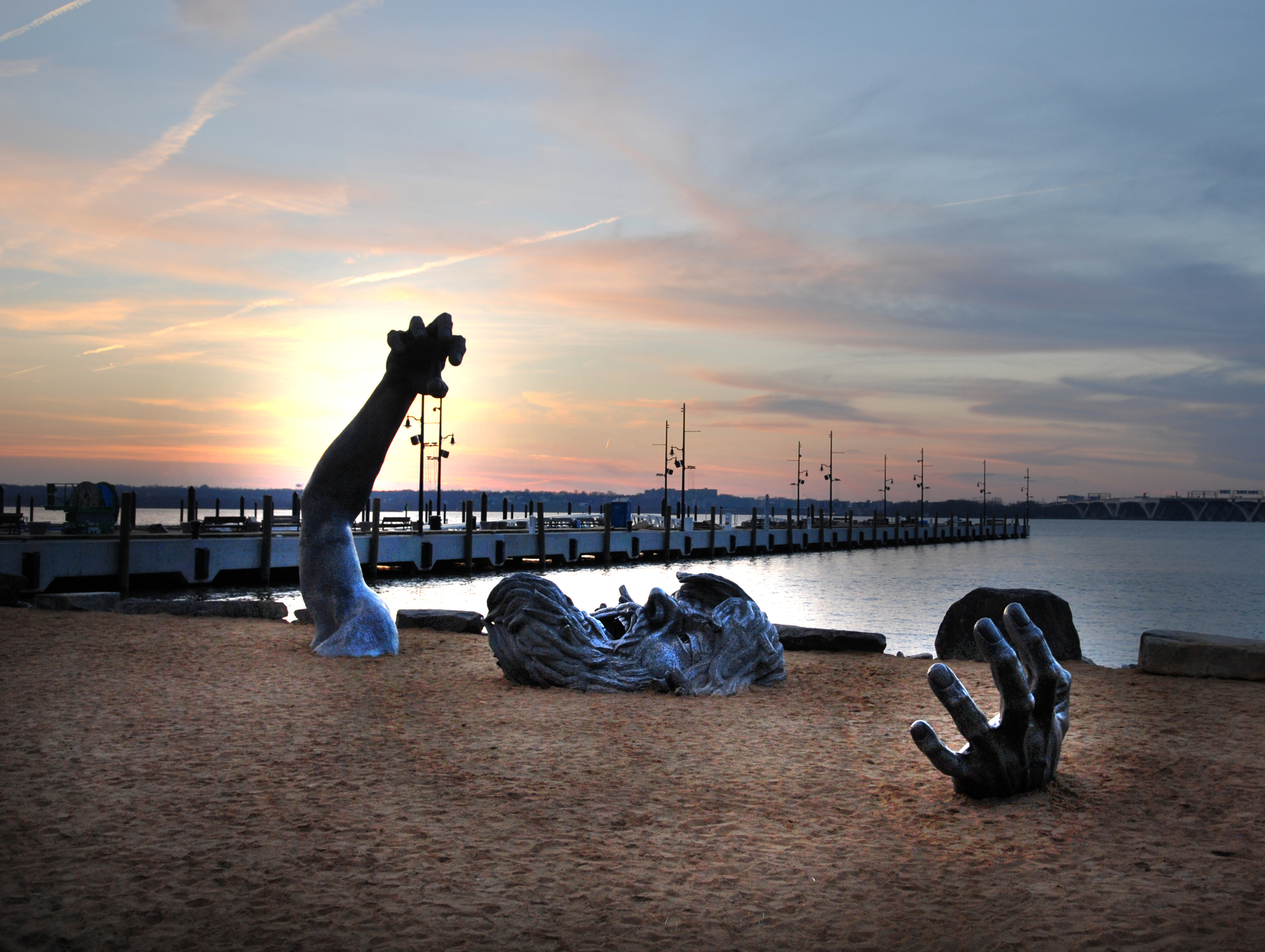 """WSSI obtained a permit modification for installation of """"The Awakening,"""" a sculpture by J. Seward Johnson, Jr., along the National Harbor shoreline."""