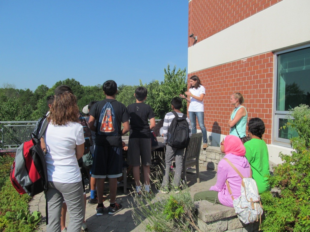 Young Scholars on WSSI's green roof, learning about low impact development (LID) by example