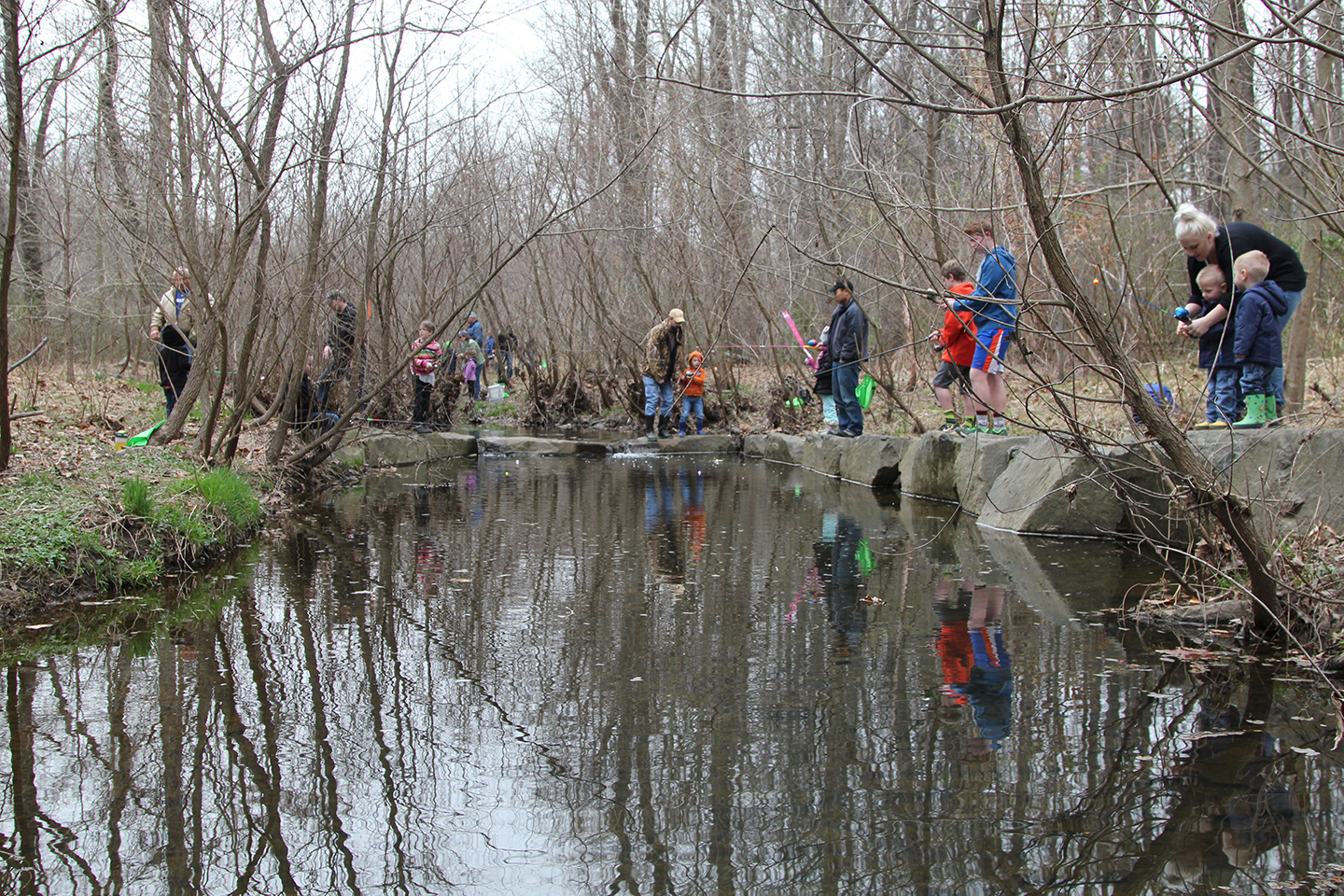 Anglers along Snakeden Branch in 2016, seven years after restoration