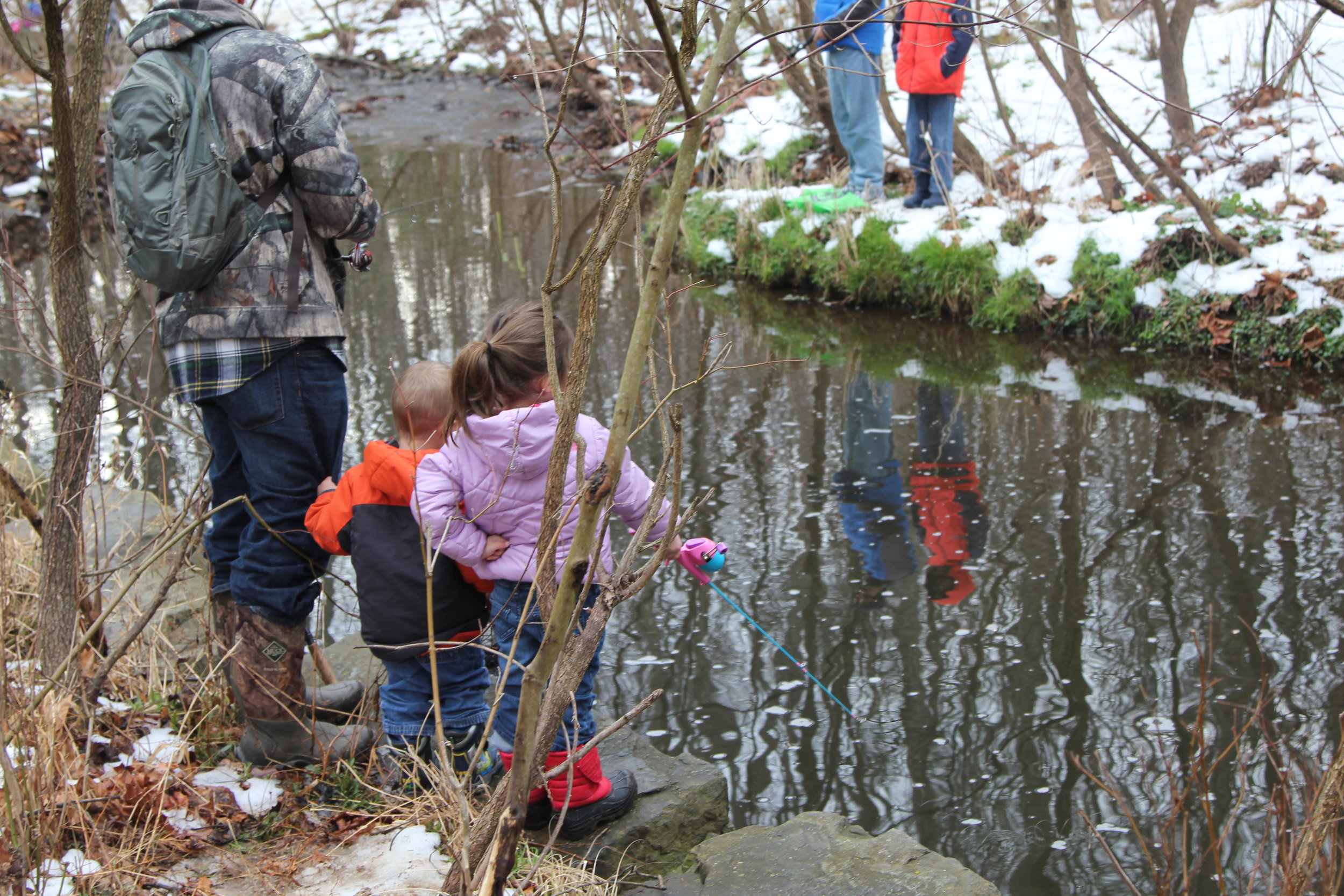 Snowy banks along Snakeden Branch didn't deter more than 200 kids and   their families from an outdoor adventure.