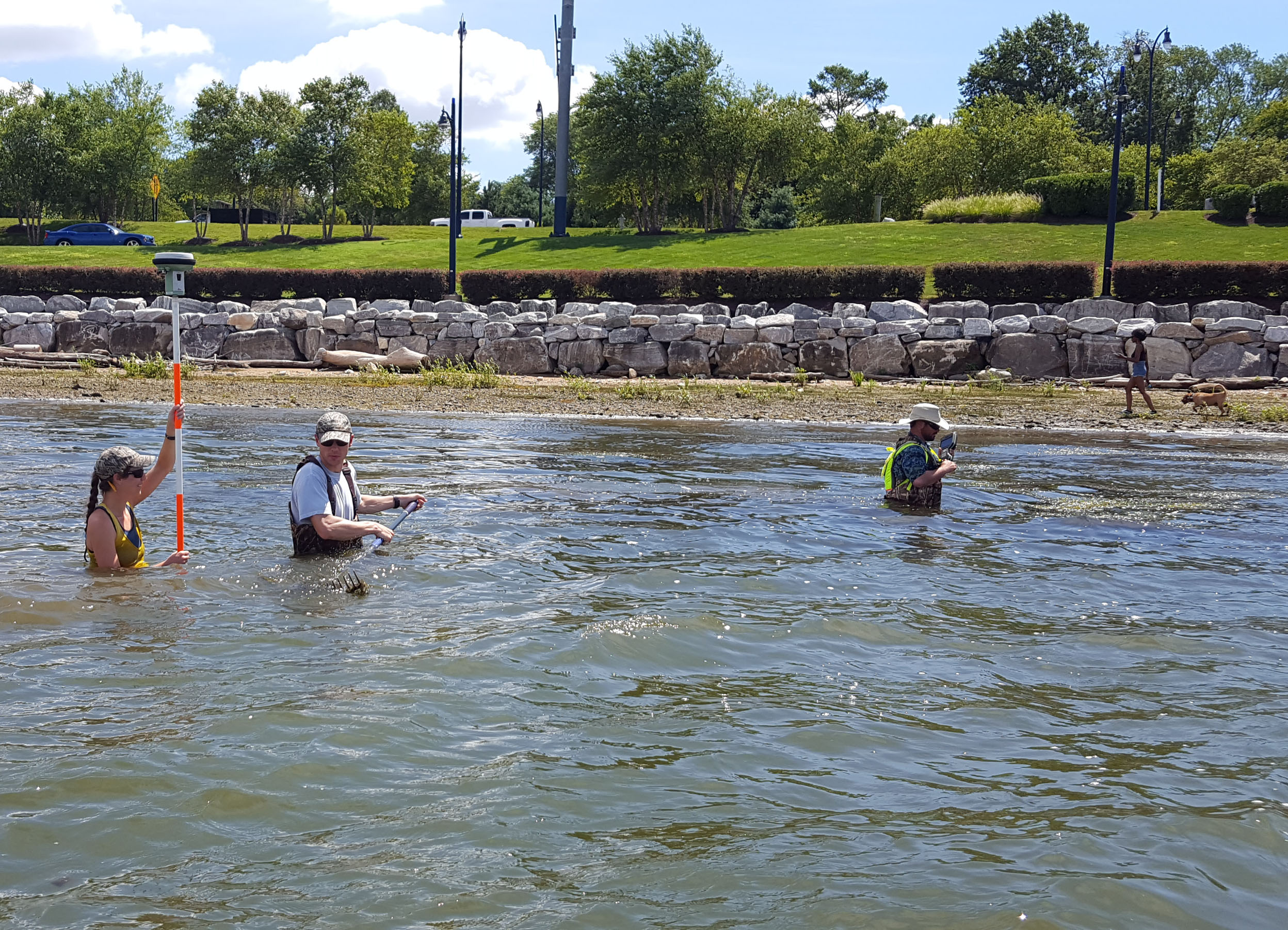 WSSI staff conducting survey in near shore shallow water.