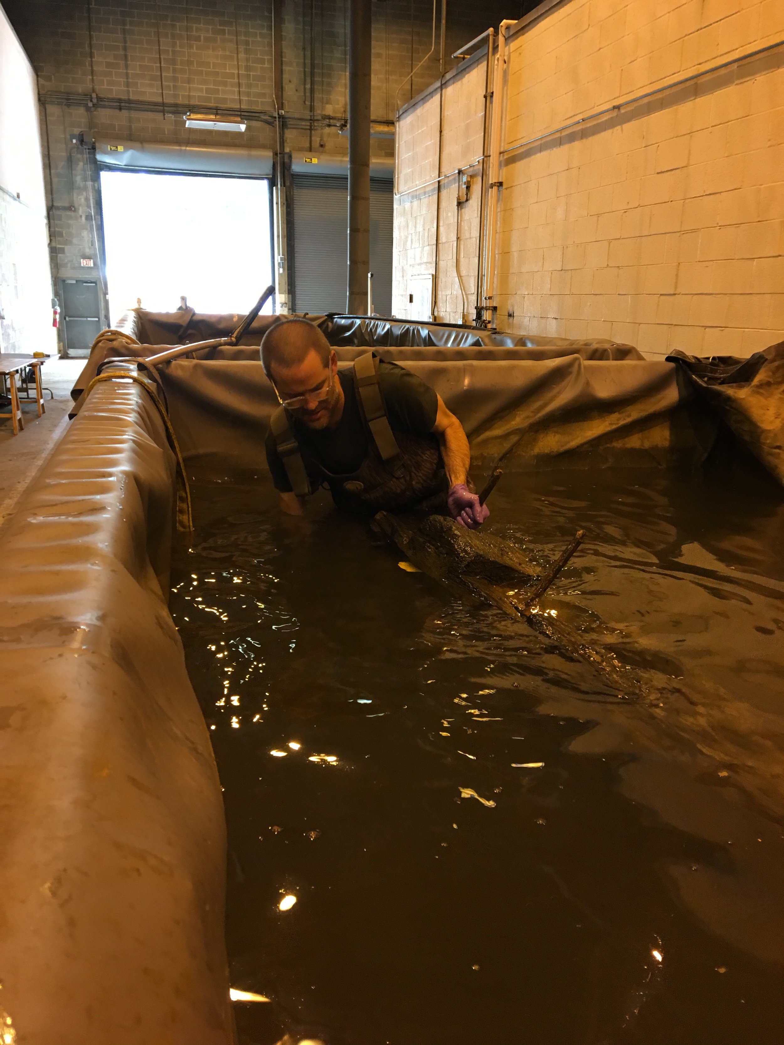 WSSI archeologist Ed Johnson helps as timbers are lifted from conservation tanks.  In June 2017, Ed and other volunteers removed timbers from their tanks, carefully packed them, and sent them to Texas A&M University's  Conservation Research Laboratory  for conservation. They will return to Alexandria after a multiyear process.