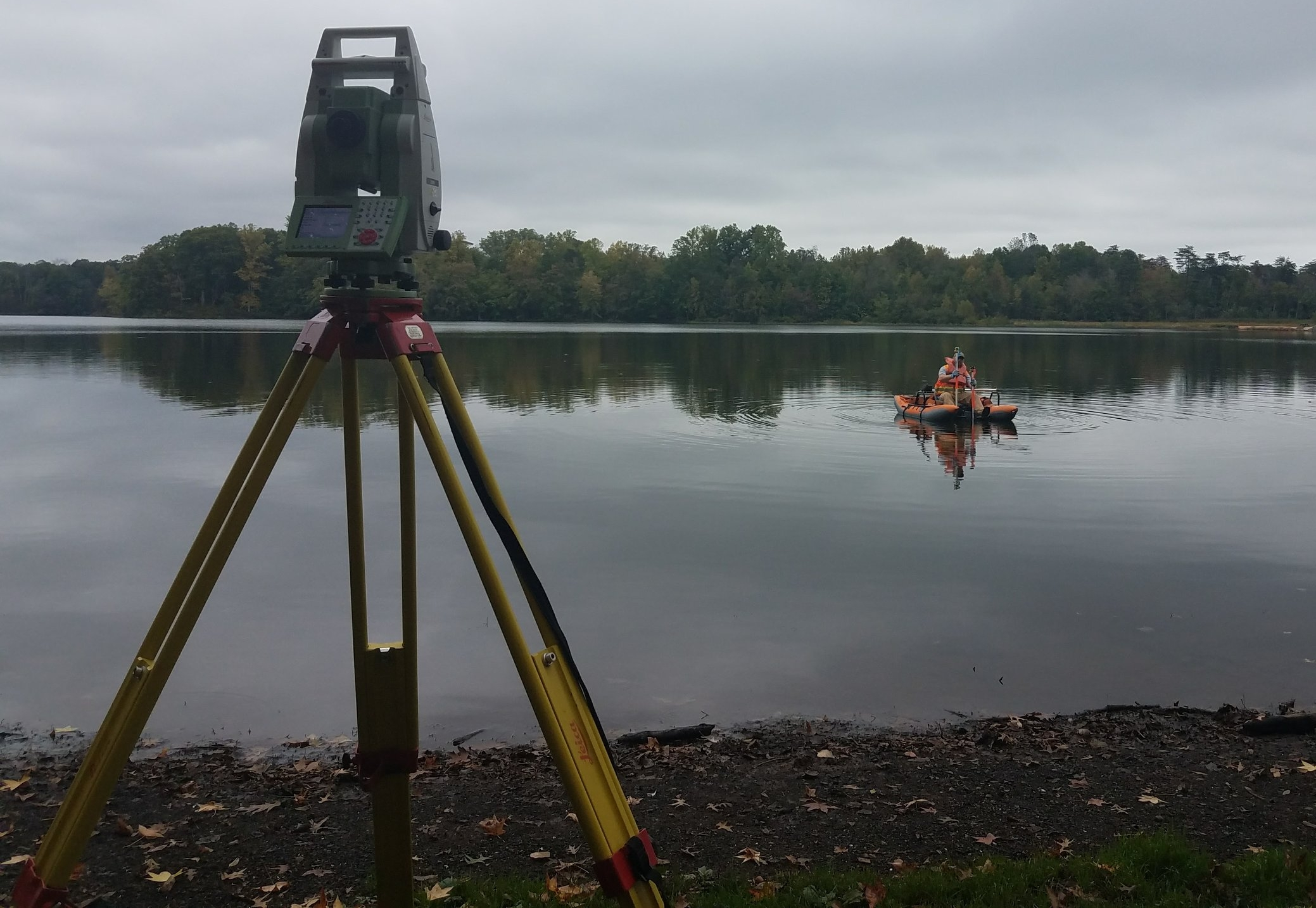 WSSI surveyor collecting sediment depth data