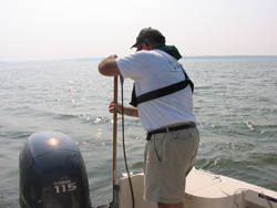 WSSI staff conducting survey by boat in deeper water