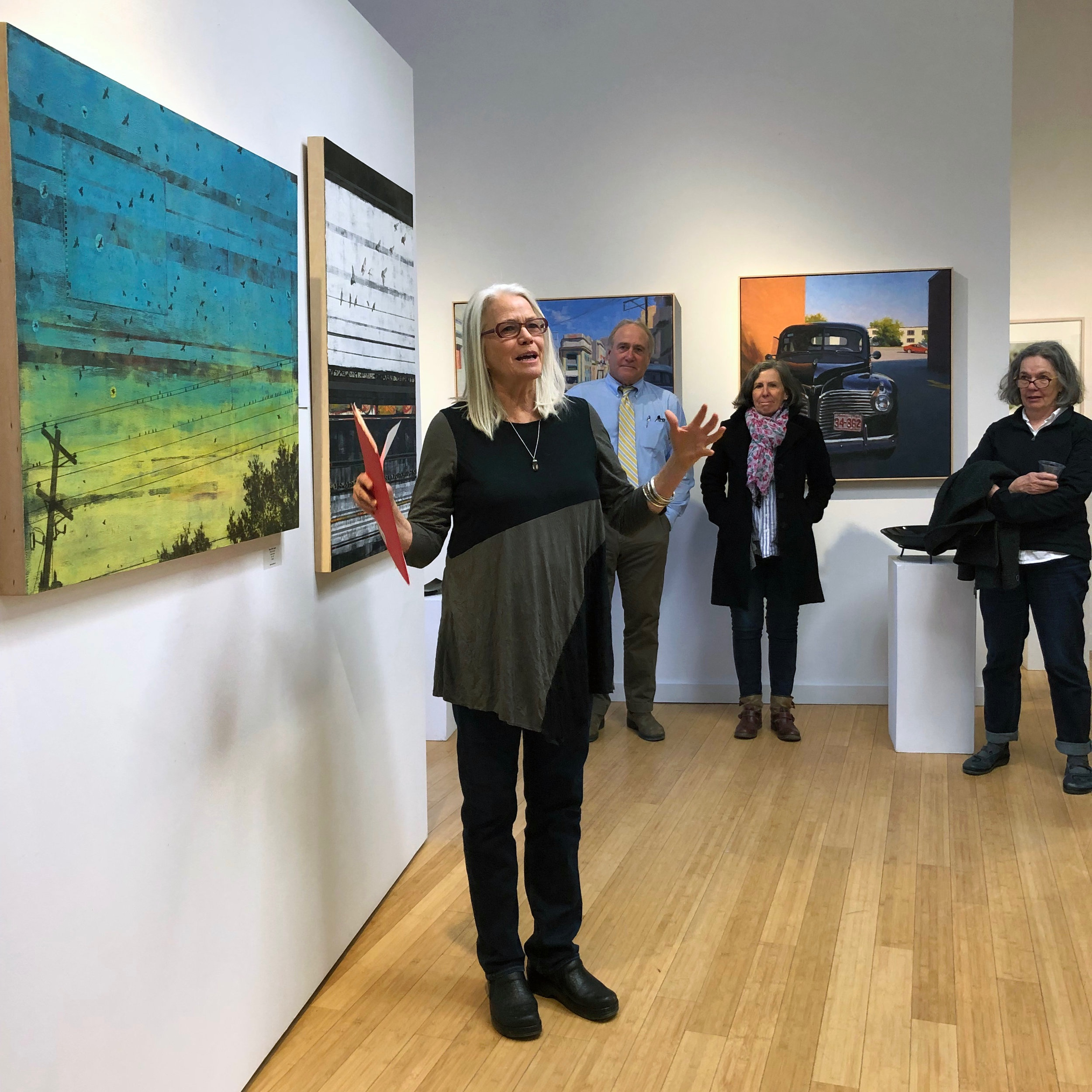 Kari Hansen reads  Stay a Little Longer  next to my painting with the same title. I love how her poem really inhabits the painting.