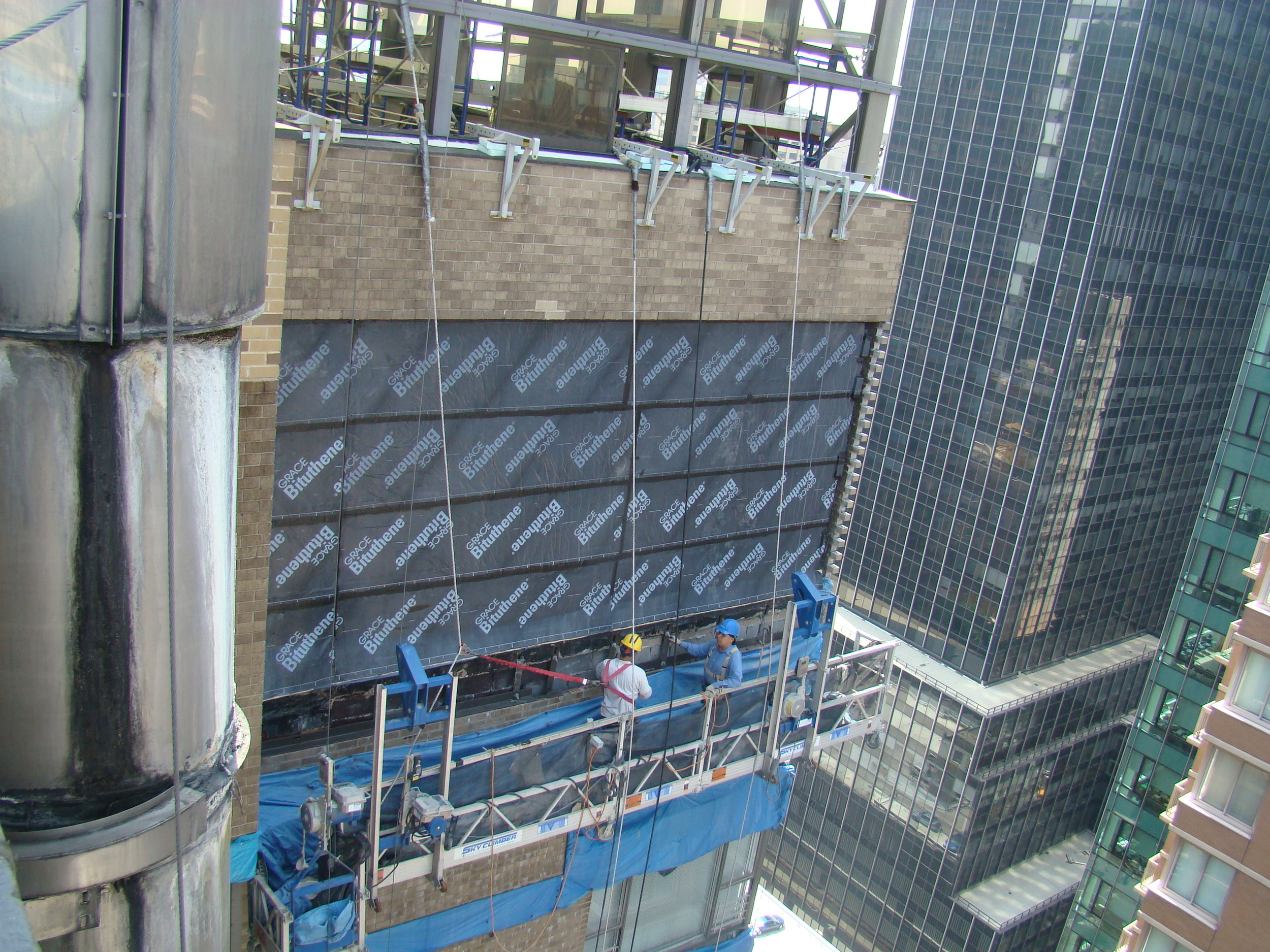 Backup masonry façade waterproofing
