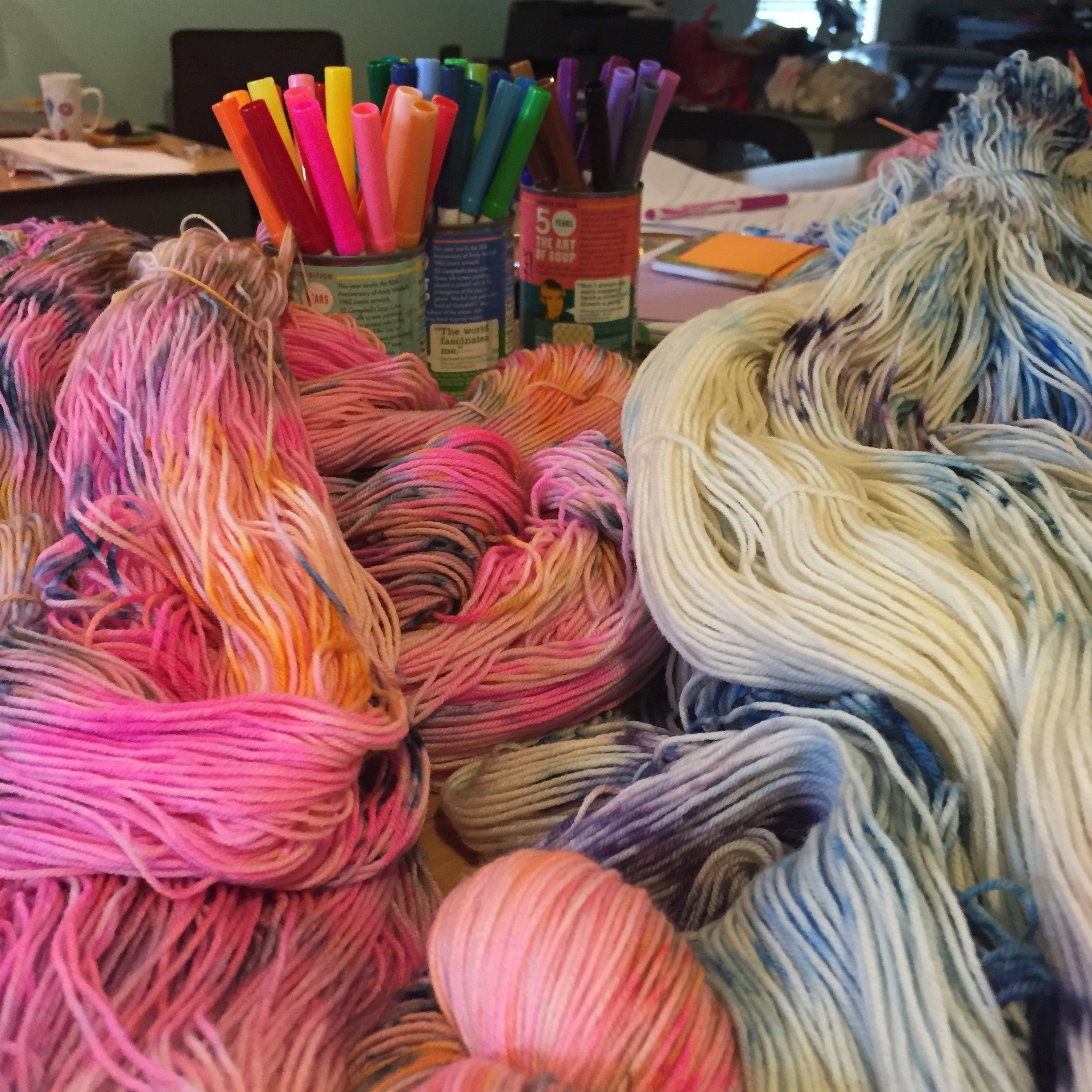 Skeining all the newly dried yarns!