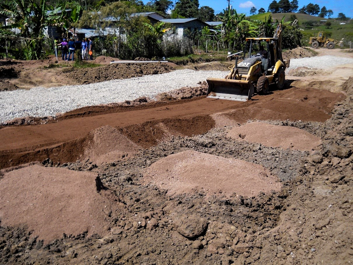 Septic system under construction.