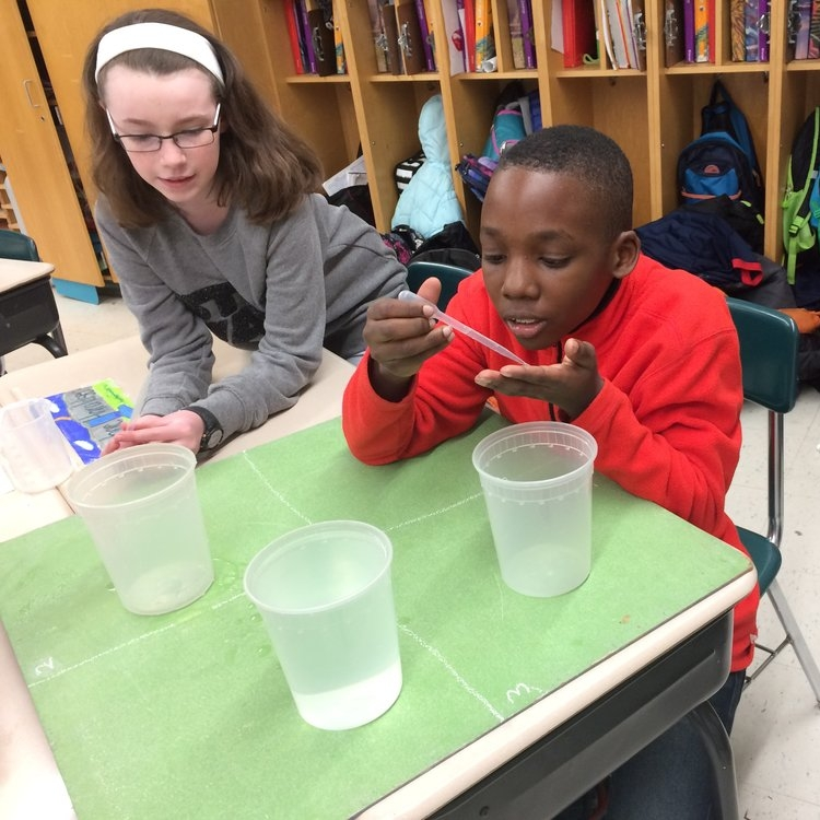 Students testing water samples in a Change is Simple classroom.