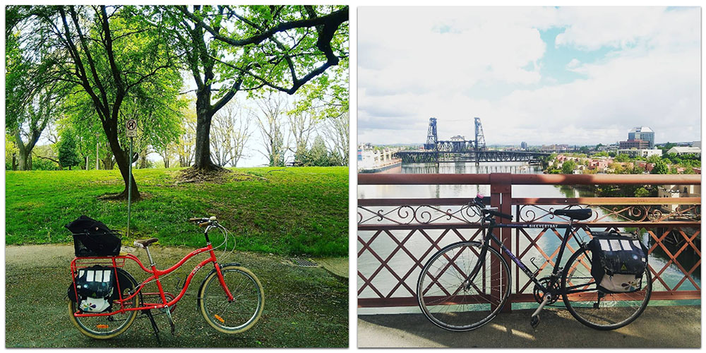 My two bikes. By a park, and by the willamette river downtown!