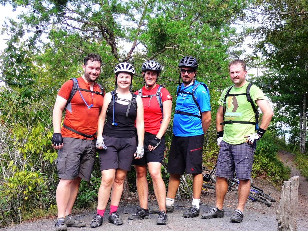 Mrs. Dean (center) and me (right) with some friends at the top of Mouse Loop Trail in the Tsali Recreation Area overlooking the Smoky Mountains.