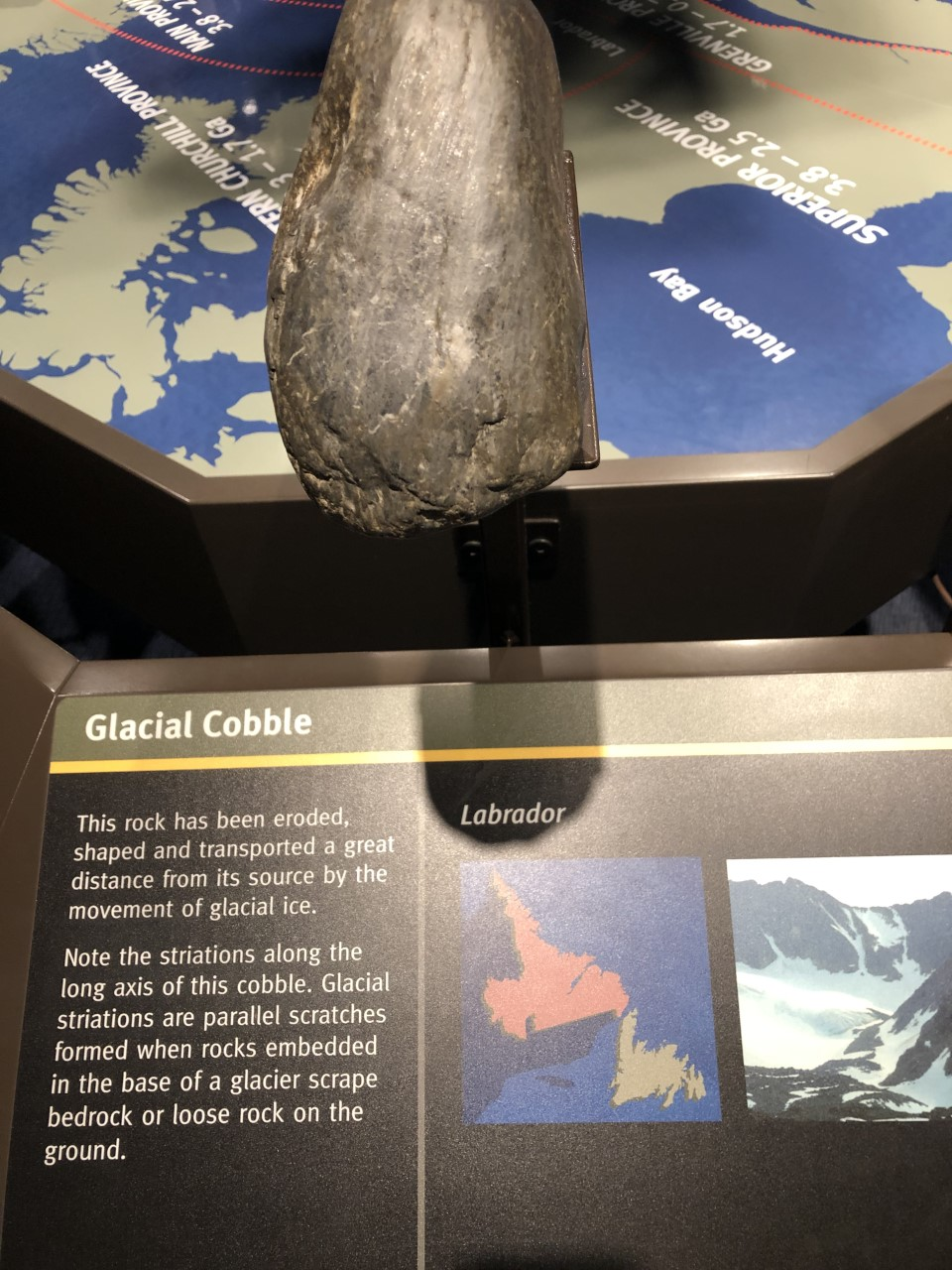 The Geocenter is a museum dedicated to the earth science of the province. They had thousands of rocks, some of which were over 1 billion years old! This glacial cobble made me think of the work we are doing in 5th grade on constructive and destructive forces of landforms.