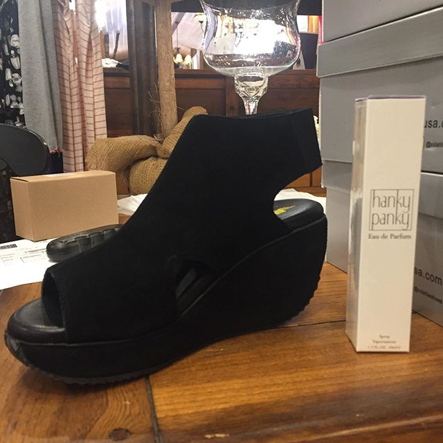 2 more boxes!! Hanky Panky perfume and these cute Blake suede shoes! So fun!  Several boxes to go!#hankypankybrand #volatileshoes #likechristmaseveryday #highcountrystyle #highcountrystylewaynesville #shopsmall #shoplocal
