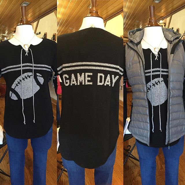 We are so excited about this new line of sweaters!!! And our Anorak hooded vest!  Soooo cute! #footballseasonattire #gameday #anorakpuffyvest #highcountrystyle #highcountrystylewaynesville #828isgreat #lovethis #iamgettingthissweater #bestboutiqueever
