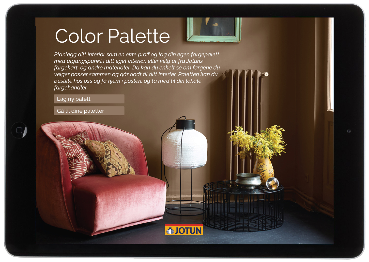 2. Information about the service. Choose whether to create a new palette or go to your saved palettes